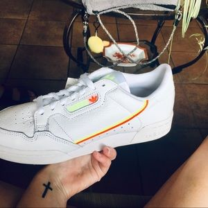 ADIDAS continental neon yellow and orange sneakers